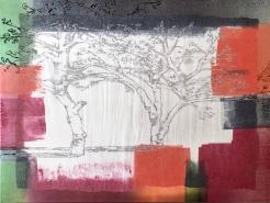 Im Garten - VII, Druckplatte in Bearbeitung